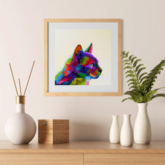 Ezposterprints - Cartoon Cat | Cubism Pop Art Design Colorful Animals - 12x12 ambiance display photo sample