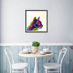 Ezposterprints - Cartoon Cat | Cubism Pop Art Design Colorful Animals - 16x16 ambiance display photo sample