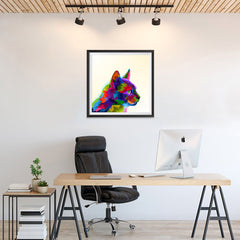 Ezposterprints - Cartoon Cat | Cubism Pop Art Design Colorful Animals - 24x24 ambiance display photo sample