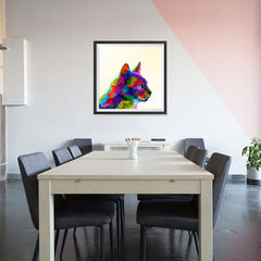 Ezposterprints - Cartoon Cat | Cubism Pop Art Design Colorful Animals - 32x32 ambiance display photo sample