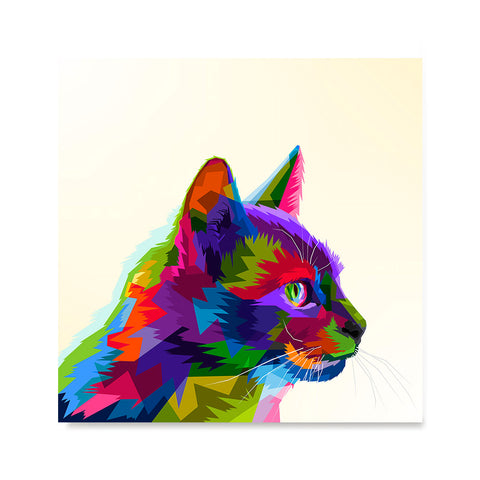 Ezposterprints - Cartoon Cat | Cubism Pop Art Design Colorful Animals