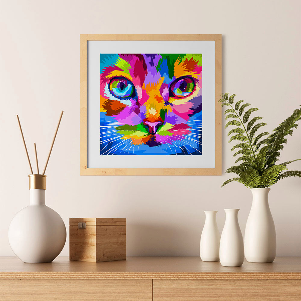 Ezposterprints - Cat Face | Cubism Pop Art Design Colorful Animals - 12x12 ambiance display photo sample