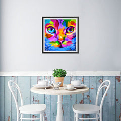 Ezposterprints - Cat Face | Cubism Pop Art Design Colorful Animals - 16x16 ambiance display photo sample