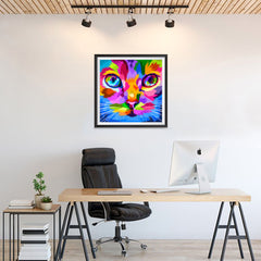 Ezposterprints - Cat Face | Cubism Pop Art Design Colorful Animals - 24x24 ambiance display photo sample