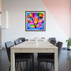 Ezposterprints - Cat Face | Cubism Pop Art Design Colorful Animals - 32x32 ambiance display photo sample