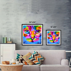 Ezposterprints - Cat Face | Cubism Pop Art Design Colorful Animals ambiance display photo sample