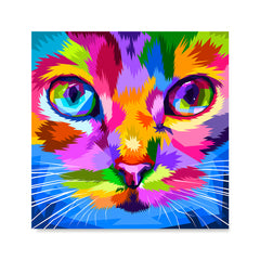 Ezposterprints - Cat Face | Cubism Pop Art Design Colorful Animals
