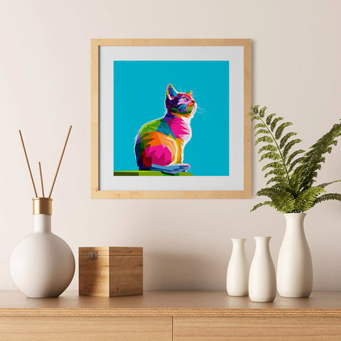 Ezposterprints - Cool Cat | Cubism Pop Art Design Colorful Animals - 12x12 ambiance display photo sample