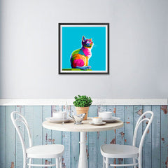 Ezposterprints - Cool Cat | Cubism Pop Art Design Colorful Animals - 16x16 ambiance display photo sample