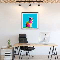 Ezposterprints - Cool Cat | Cubism Pop Art Design Colorful Animals - 24x24 ambiance display photo sample