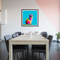Ezposterprints - Cool Cat | Cubism Pop Art Design Colorful Animals - 32x32 ambiance display photo sample