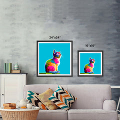 Ezposterprints - Cool Cat | Cubism Pop Art Design Colorful Animals ambiance display photo sample
