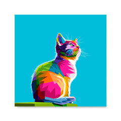 Ezposterprints - Cool Cat | Cubism Pop Art Design Colorful Animals