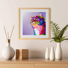 Ezposterprints - Cute Cat | Cubism Pop Art Design Colorful Animals - 12x12 ambiance display photo sample