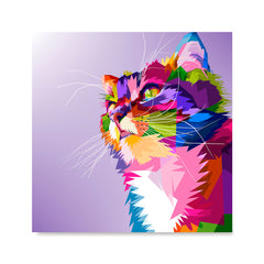 Ezposterprints - Cute Cat | Cubism Pop Art Design Colorful Animals