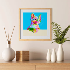 Ezposterprints - Cute Kitten | Cubism Pop Art Design Colorful Animals - 12x12 ambiance display photo sample