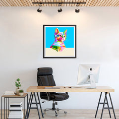 Ezposterprints - Cute Kitten | Cubism Pop Art Design Colorful Animals - 24x24 ambiance display photo sample