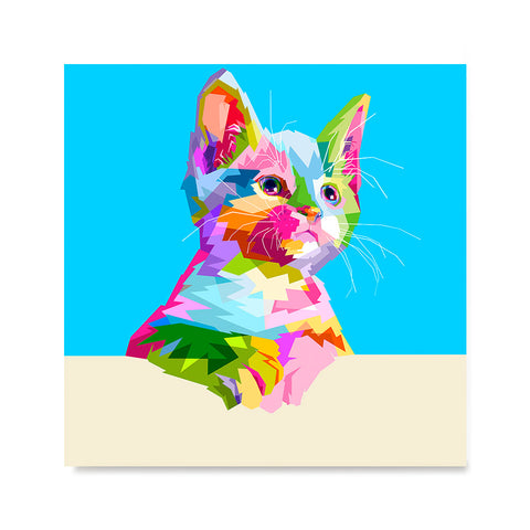 Ezposterprints - Cute Kitten | Cubism Pop Art Design Colorful Animals