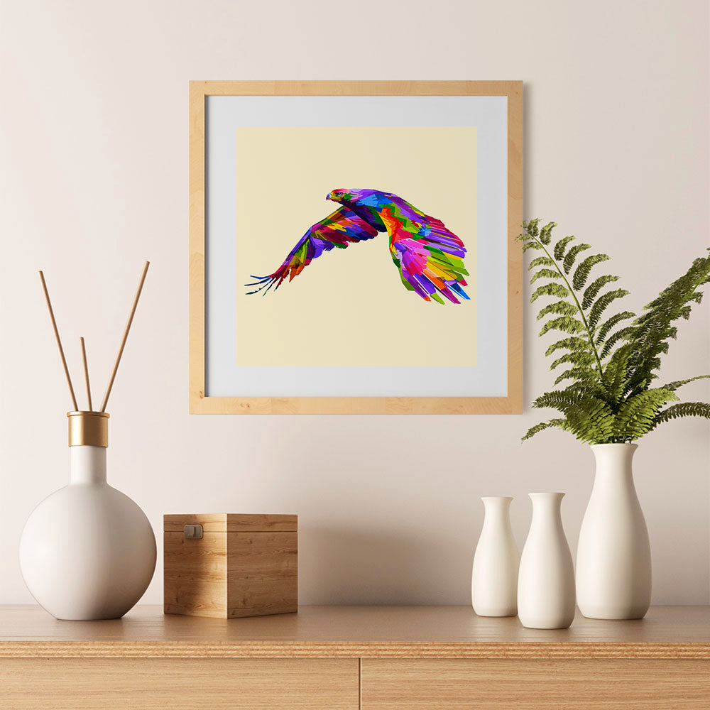 Ezposterprints - Flying Eagle | Cubism Pop Art Design Colorful Animals - 12x12 ambiance display photo sample