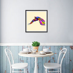 Ezposterprints - Flying Eagle | Cubism Pop Art Design Colorful Animals - 16x16 ambiance display photo sample