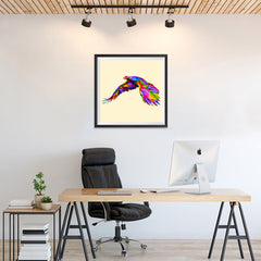 Ezposterprints - Flying Eagle | Cubism Pop Art Design Colorful Animals - 24x24 ambiance display photo sample