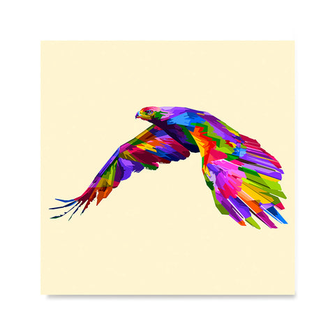 Ezposterprints - Flying Eagle | Cubism Pop Art Design Colorful Animals