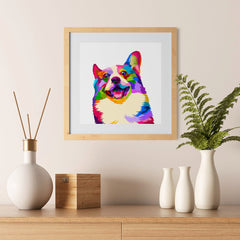 Ezposterprints - Happy Dog | Cubism Pop Art Design Colorful Animals - 12x12 ambiance display photo sample