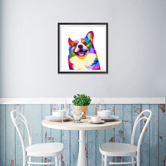 Ezposterprints - Happy Dog | Cubism Pop Art Design Colorful Animals - 16x16 ambiance display photo sample