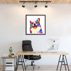 Ezposterprints - Happy Dog | Cubism Pop Art Design Colorful Animals - 24x24 ambiance display photo sample