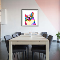 Ezposterprints - Happy Dog | Cubism Pop Art Design Colorful Animals - 32x32 ambiance display photo sample