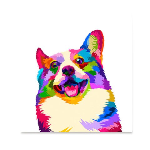 Ezposterprints - Happy Dog | Cubism Pop Art Design Colorful Animals
