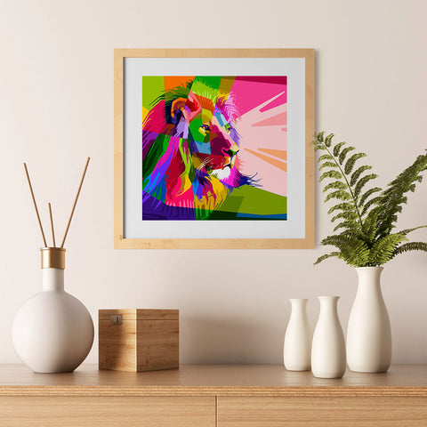 Ezposterprints - Lion | Cubism Pop Art Design Colorful Animals - 12x12 ambiance display photo sample