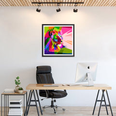Ezposterprints - Lion | Cubism Pop Art Design Colorful Animals - 24x24 ambiance display photo sample