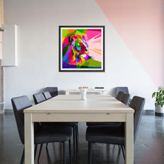 Ezposterprints - Lion | Cubism Pop Art Design Colorful Animals - 32x32 ambiance display photo sample