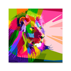 Ezposterprints - Lion | Cubism Pop Art Design Colorful Animals
