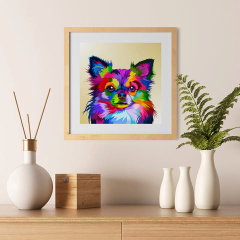 Ezposterprints - Little Dog | Cubism Pop Art Design Colorful Animals - 12x12 ambiance display photo sample