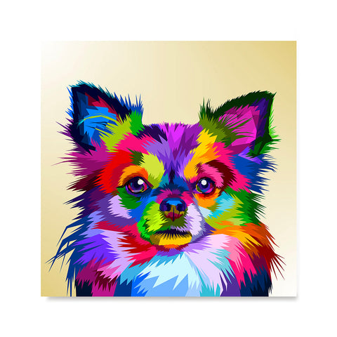 Ezposterprints - Little Dog | Cubism Pop Art Design Colorful Animals