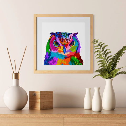 Ezposterprints - Owl | Cubism Pop Art Design Colorful Animals - 12x12 ambiance display photo sample