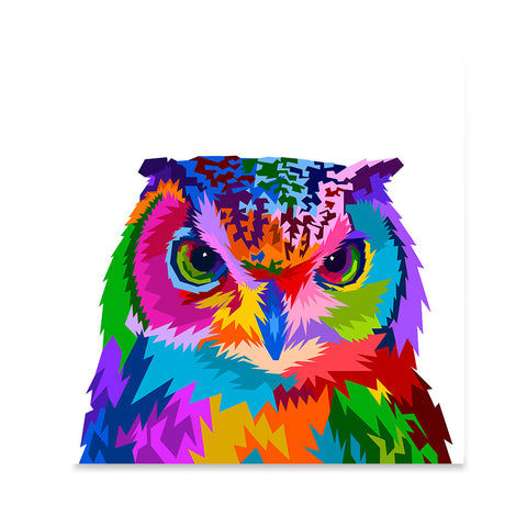 Ezposterprints - Owl | Cubism Pop Art Design Colorful Animals