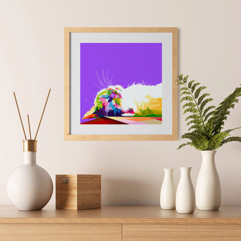 Ezposterprints - Sleeping Cat | Cubism Pop Art Design Colorful Animals - 12x12 ambiance display photo sample