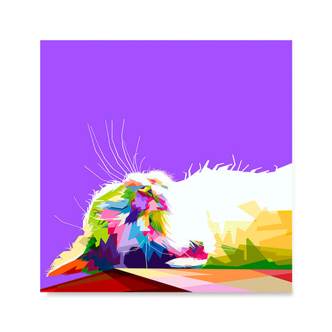 Ezposterprints - Sleeping Cat | Cubism Pop Art Design Colorful Animals