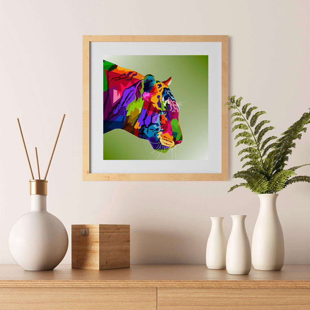 Ezposterprints - Tiger | Cubism Pop Art Design Colorful Animals - 12x12 ambiance display photo sample