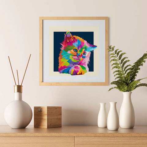 Ezposterprints - Adorable Cat | Cubism Pop Art Design Colorful Animals - 12x12 ambiance display photo sample