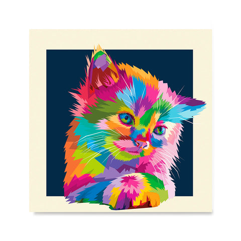 Ezposterprints - Adorable Cat | Cubism Pop Art Design Colorful Animals