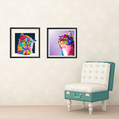 Ezposterprints - Cat Face | Cubism Pop Art Design Colorful Animals general ambiance photo sample