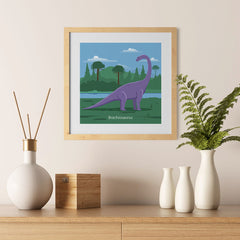 Ezposterprints - Brachiosaurus - Prehistoric Animals, Dinosaur Illustrations Series - 12x12 ambiance display photo sample