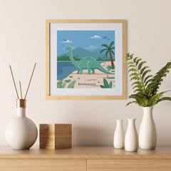 Ezposterprints - Brontosaurus - Prehistoric Animals, Dinosaur Illustrations Series - 12x12 ambiance display photo sample