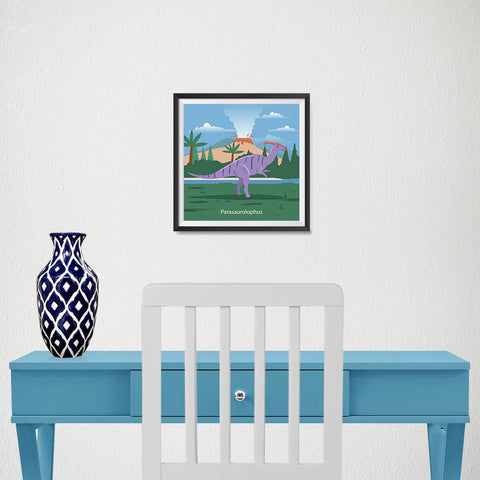 Ezposterprints - Parasaurolophus - Prehistoric Animals, Dinosaur Illustrations Series - 10x10 ambiance display photo sample