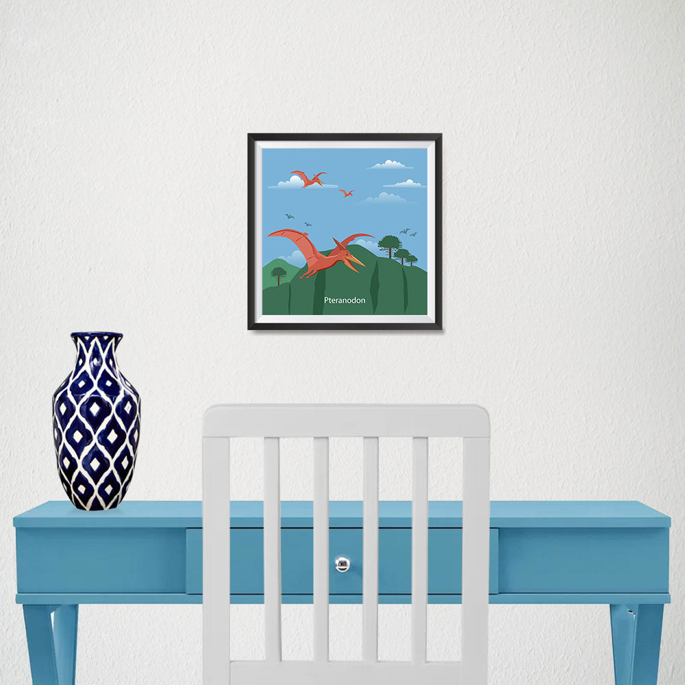 Ezposterprints - Pteranodon - Prehistoric Animals, Dinosaur Illustrations Series - 10x10 ambiance display photo sample