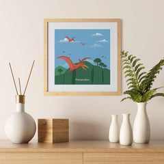 Ezposterprints - Pteranodon - Prehistoric Animals, Dinosaur Illustrations Series - 12x12 ambiance display photo sample